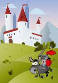 Funny cartoon knight — Stock Vector