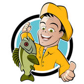 Funny cartoon fisherman — 图库矢量图片