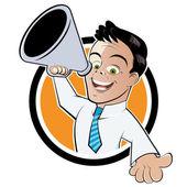 Funny megaphone man — Stock Vector