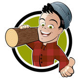Funny cartoon lumberjack — Stock Vector