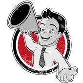 Vintage megaphone man — Stock Vector