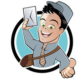 Funny cartoon postman — Stock Vector