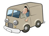 Funny cartoon deliveryman — Stock Vector