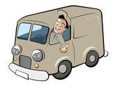 Funny cartoon deliveryman — Stock Vector