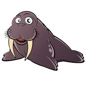 Funny cartoon walrus — Stock Vector