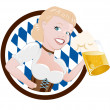 Cartoon girl in dirndl with beer — Stock Vector
