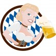 Stock Vector: Cartoon girl in dirndl with beer