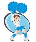 Funny cartoon cheerleader — Stock Vector