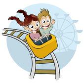 Cartoon kids on rollercoaster — Stock Vector