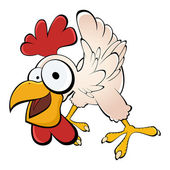 Funny cartoon chicken — Vector de stock