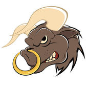 Angry cartoon bull — Stock Vector