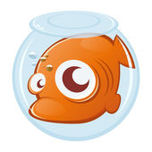 Goldfish in uncomfortable aquarium — Stock Vector
