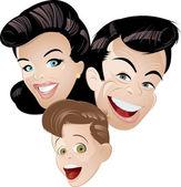 Retro cartoon family — Stock Vector
