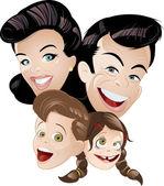 Família cartoon retrô — Vetor de Stock