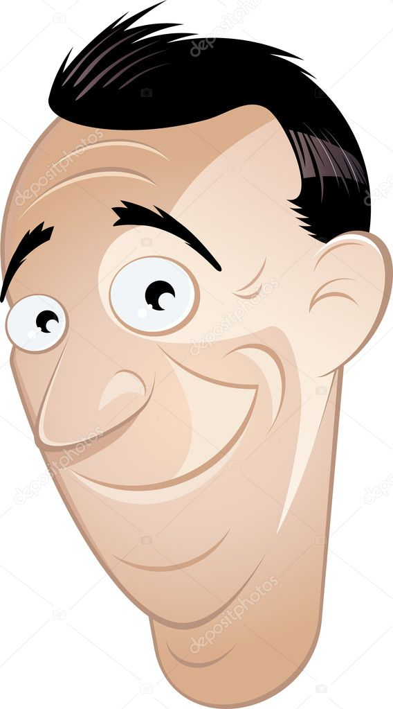 Funny cartoon man is smiling — Stock Vector #12002439