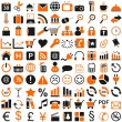 Stock Vector: 100 orange black icon