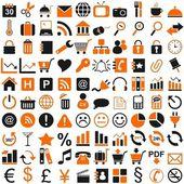 100 icono negro naranja — Vector de stock