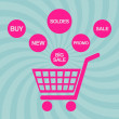 Pink shopping cart - Image vectorielle