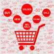 Red discount cart - Image vectorielle