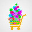 Yellow discount cart - Image vectorielle