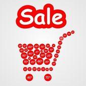 Red discount basket — Stock Vector