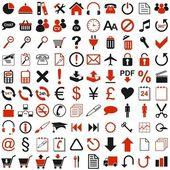 100 red black icon — Stock Vector