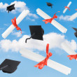 Stock Photo: Graduation Caps & Scrolls