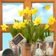 Spring Easter Window — Stock Photo