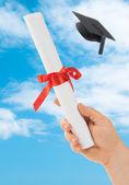 Graduation Scoll & Cap — Stock Photo