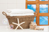 Basket Of Towels — Stock Photo