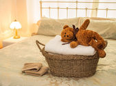 Laundry Basket with Teddy Bear — Stock Photo