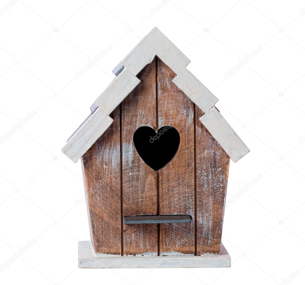 Wooden bird house isolated on a white background — Stock Photo #11457979
