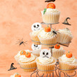 Halloween Cakes With Floating Witches Hats — Stock Photo