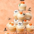 Halloween Cakes With Floating Witches Hats - Stock Photo