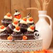 Halloween Chocolate Muffins — Stock Photo