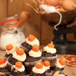 Making Halloween Muffins — Stock Photo