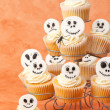 Skeleton Face Cupcakes - Stock Photo