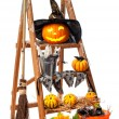Stock Photo: Halloween Pumpkin Step Ladder