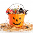 Candie Filled Halloween Bucket — Stock Photo