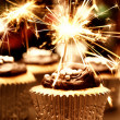 Party Cupcakes With Sparklers — Stock Photo