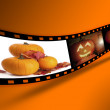 Halloween Pumpkin Film Strip - Stock Photo