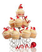 Christmas Cupcakes On Stand — Stock Photo