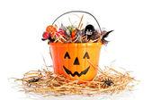 Candie Filled Halloween Bucket — Stock Photo