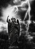 Lightning Strikes the Angel Gabriel — Stock Photo