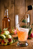 Pouring Glass of Cider — Stock Photo