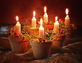Candles In Terracotta Pots — Stock Photo