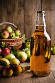 Bottled Cider With Apples — Stock Photo