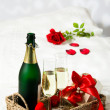Stock Photo: Champagne Breakfast In Bed