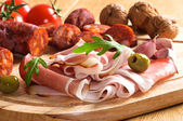 Parma Ham & Chorizo — Stock Photo