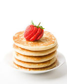 Pancakes Topped With Strawberry — Stock Photo